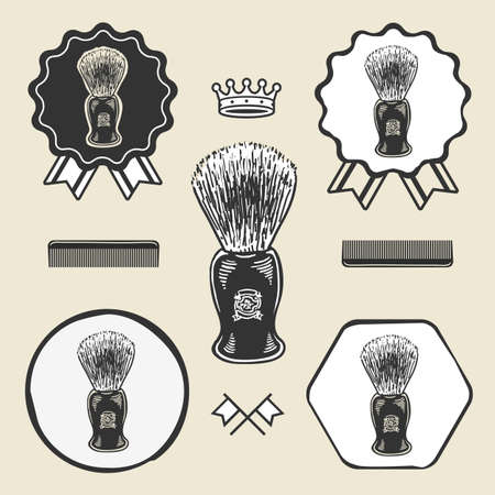 shaving brush: Barber shaving brush beard symbol emblem label collection set