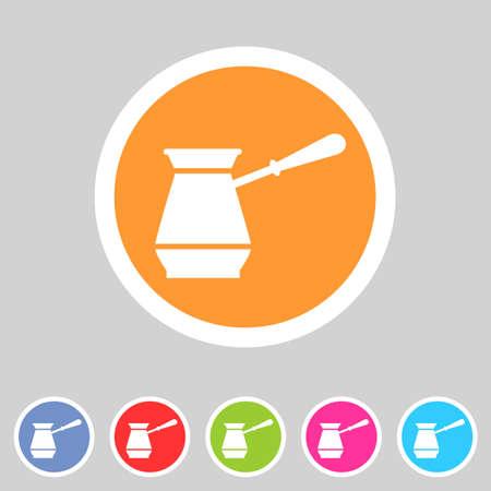 cezve: Cezve turkish coffee pot  icon flat web sign symbol logo label set Illustration