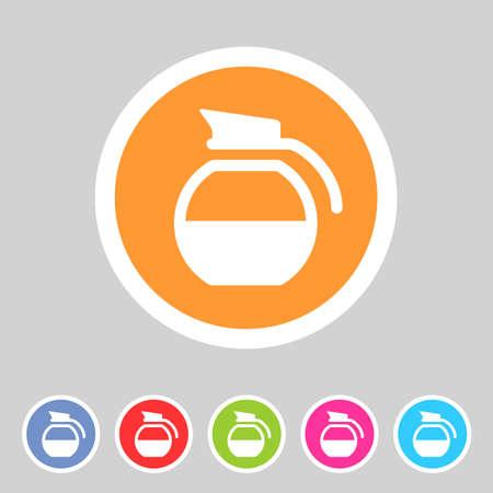 coffee pot: coffee pot kettle icon flat web sign symbol label set