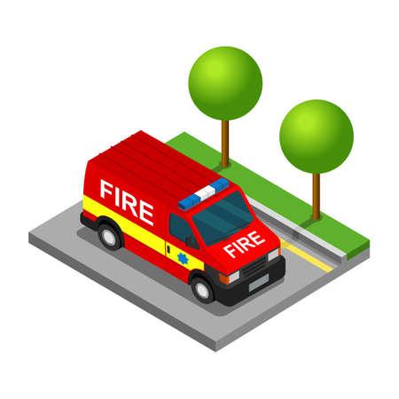 reefer: Firefighter pickup van isometric 3d car truck transport set