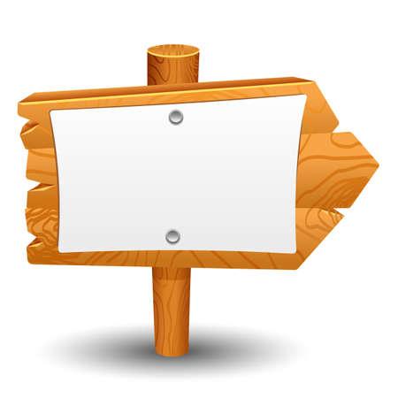 dřevěný: Vývěsní štít set příspěvek ikona symbol štítek Ilustrace