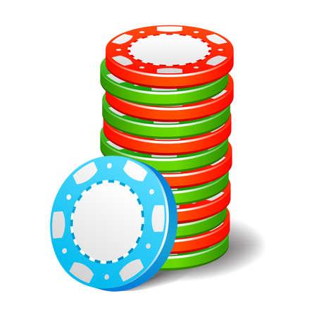 chips stack: Gambling casino poker stack chips color sign set