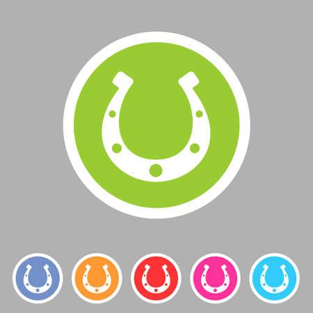 Glück-Hufeisen-Symbol Flachbahn symbol Logo-Label-Set