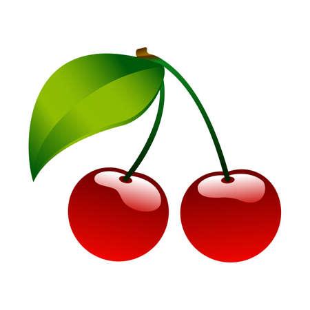 Red ripe cherry berrie food icon bio set Ilustração Vetorial