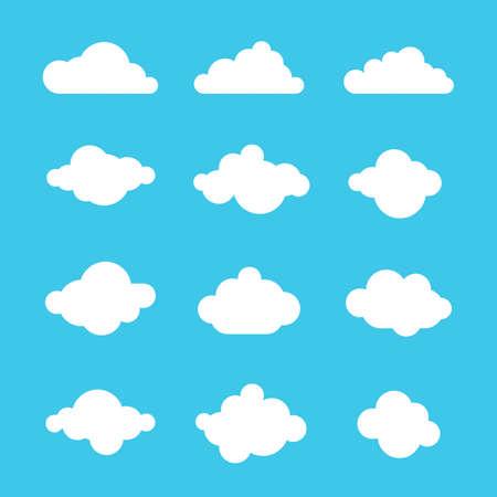 nubes caricatura: cielo de las nubes el cielo icono de etiqueta de conjunto de símbolos logotipo de la muestra Vectores