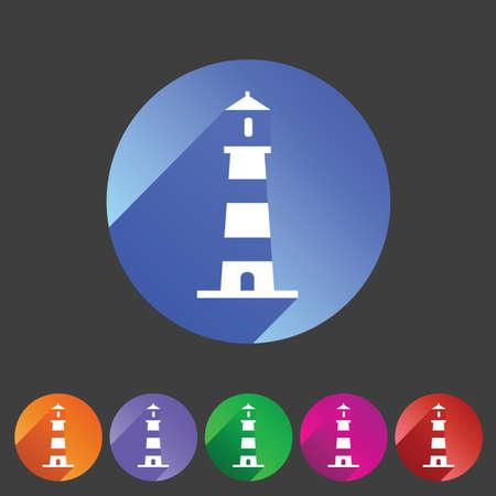 light house: Lighthouse icon flat web sign symbol logo label set