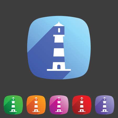 illuminative: Lighthouse icon flat web sign symbol logo label set