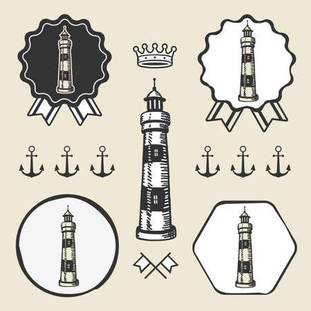 trim: vintage lighthouse symbol emblem label collection set Illustration