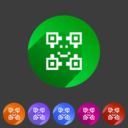 qrcode: Qr code icon flat web sign symbol logo label set Illustration