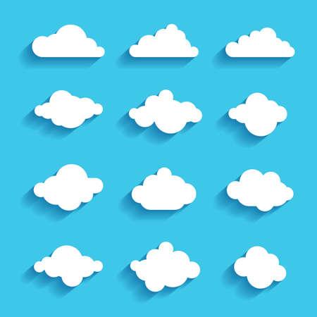 clouds sky heaven icon symbol label sign set  イラスト・ベクター素材