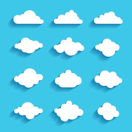 clouds sky heaven icon symbol label sign set Vettoriali