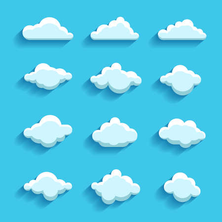 heaven: clouds sky heaven icon symbol label  sign set