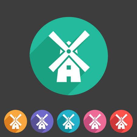 holand: Mill windmill vintage icon flat web sign symbol  label set Illustration