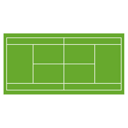 synthetic court: Tennis court grass field infographics app design horisontal set Illustration