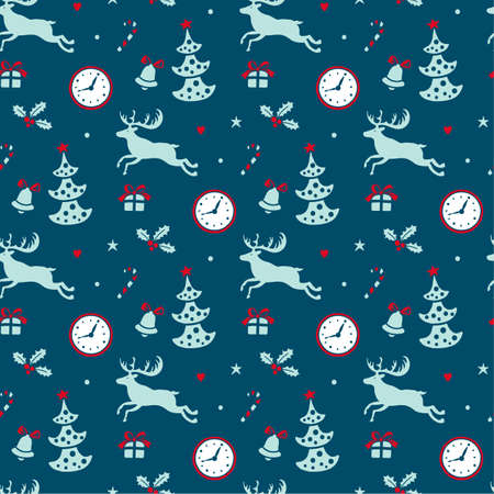 tiling: Christmas background, seamless tiling pattern texture vintage set