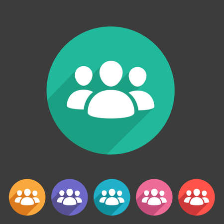 Users group social icon flat web sign symbol label set