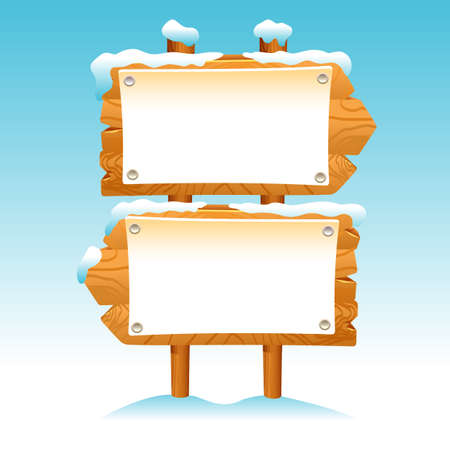 Wooden sign snow winter post icon symbol label
