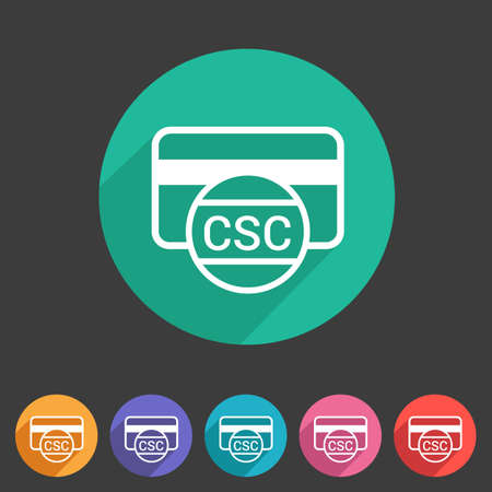 security code: CSC card security code credit card icon flat web sign symbol logo label set Illustration