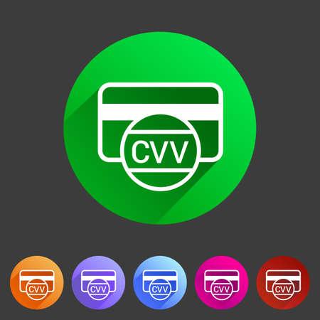 cvv: CVV card security code credit card icon flat web sign symbol logo label set