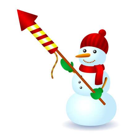Snowman ohňostroj raketa hat šátek zimní radovánky