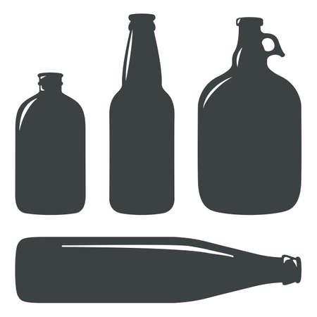 craft beer bottles vintage brewery bottles sign symbol set
