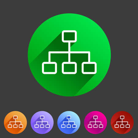 Linie Sethierarchie Symbol flach Web-Zeichen-Symbol-Logo-Label Lizenzfreie Bilder