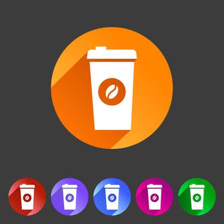 Coffee cup coffee bean icon flat web sign symbol logo label set Illustration