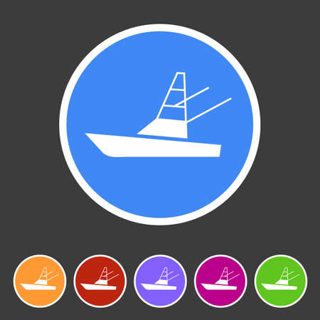 to spend the summer: Sport fish boat yacht icon flat web sign symbol logo label set