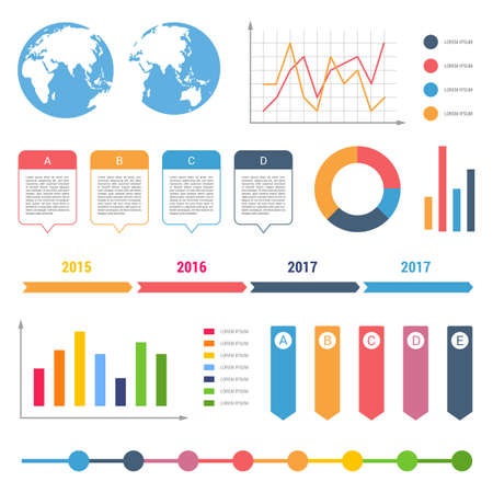 Infographic workflow diagrams timeline steps chart table text box flowchart design elements