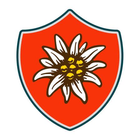 mountaineering: edelweiss shield flower symbol alpinism alps germany logo