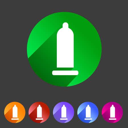 Kondom Konservierungsmittel Icon flaches Webzeichen Symbol Logo Etikett Illustration