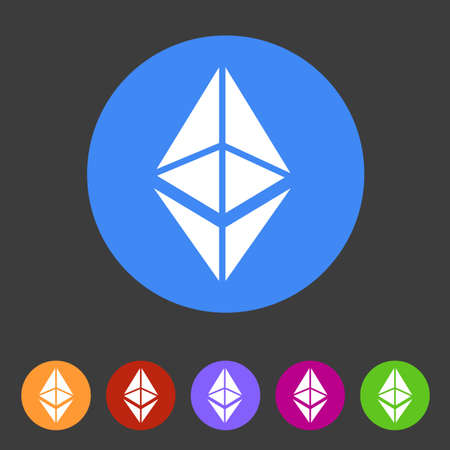Ethereum cryptocurrency icon flat web sign symbol logo label