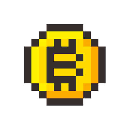 Pixel bitcoin cripto currency blockchain golden coin