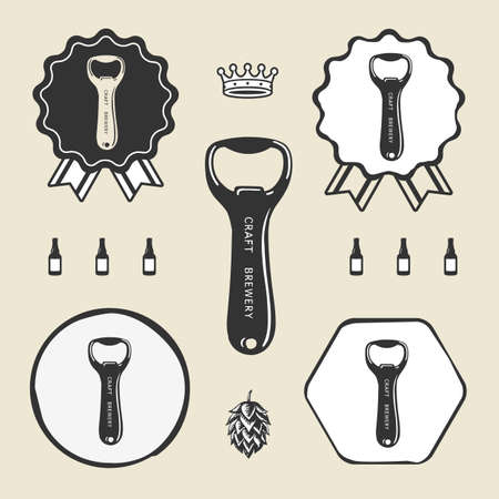 Bottle opener vintage retro icon web sign symbol logo label