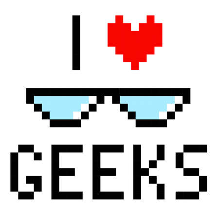 Glasses geek pixel art cartoon retro game style
