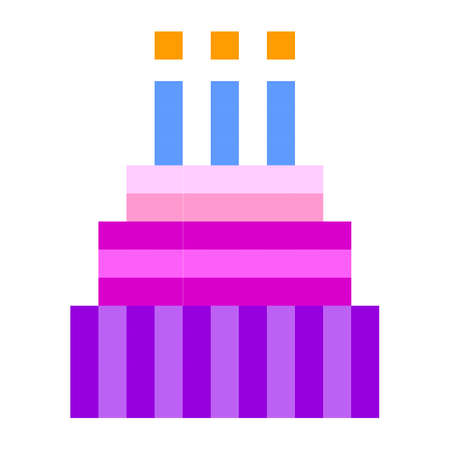 Birthday cake pixel art cartoon retro game style