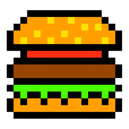 Pixelated burger icon.