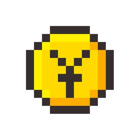 Pixel art yen golden coin retro video game set