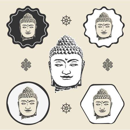 Buddha head buddhism icon flat web sign symbol logo label
