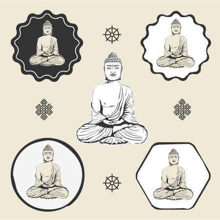 Buddha statue buddhism icon flat web sign symbol logo label 矢量图像
