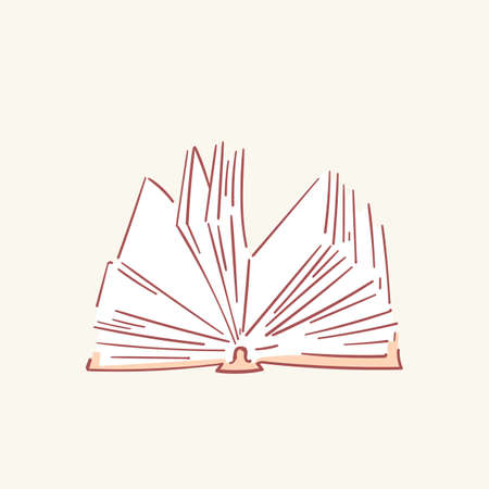 Opened book hand drawn style vector doodle design illustrations set