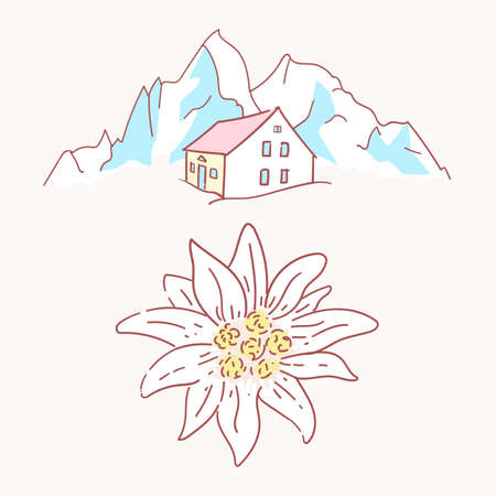edelweiss chalet hut cabin mountains symbol alpinism alps germany logo Vectores