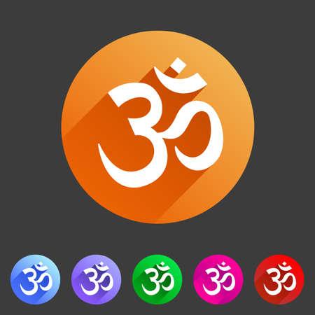 Om aum hinduism Map location pointer icon flat web sign symbol logo label set Illustration