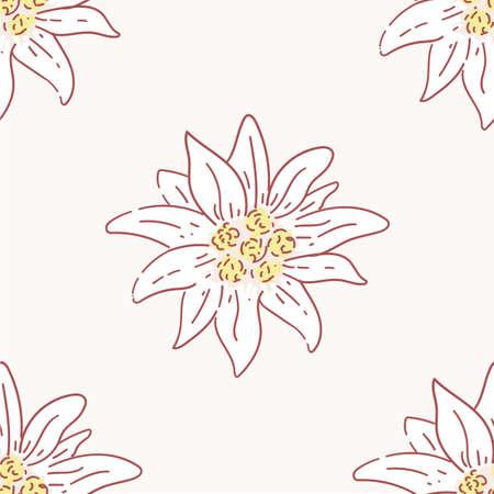 edelweiss flower seamless pattern, tile symbol alpinism alps germany logo set