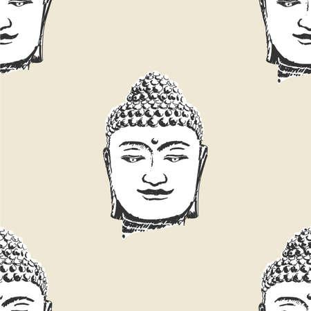 Buddha head pattern, seamless, tile, background buddhism icon flat web sign symbol logo label Illustration
