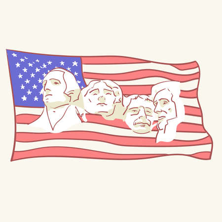 USA founding fathers flag hand drawn style vector doodle design illustrations set
