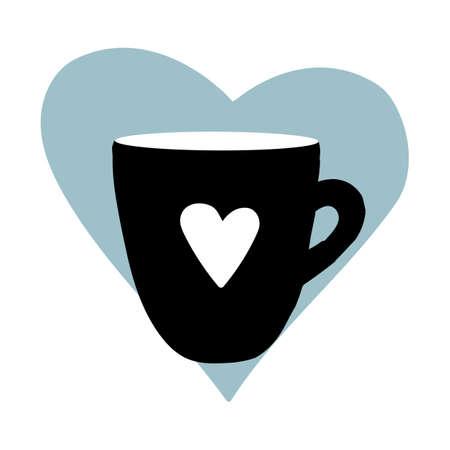 Cups mug heart love hand drawn style vector doodle design illustrations set Illustration