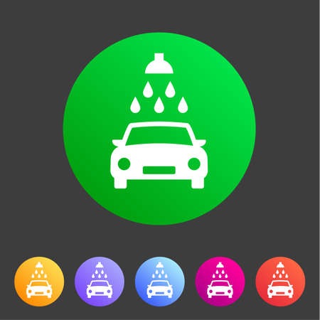 Car wash icon flat web sign symbol label Stock Illustratie