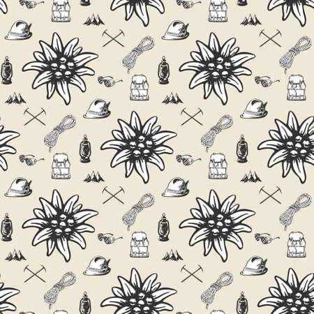 Mountain hiking outdoor pattern, seamless, tile, background Standard-Bild - 131972570