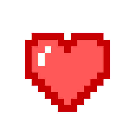 Pixel art heart love color icon valentine set Standard-Bild - 131408850